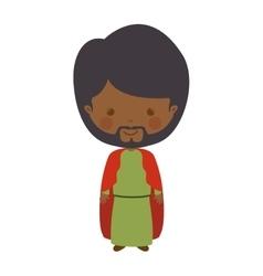 Brunette wise man melchor cartoon vector