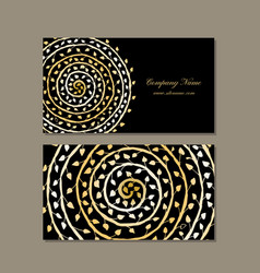 Business card design golden mandala vector