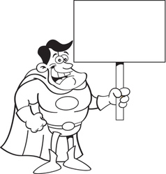 Cartoon super hero holding a sign vector image vector image