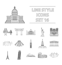 countries set icons in outline style big vector image vector image