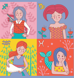 Cute horoscope girls zodiac vector