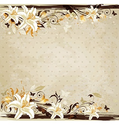Decorative floral vintage background with lily vector