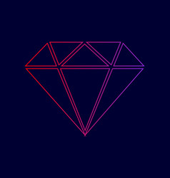 diamond sign line icon with vector image vector image