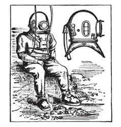 Diving-dress rubber suit vintage engraving vector