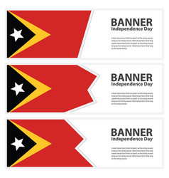 East timor flag banners collection independence vector