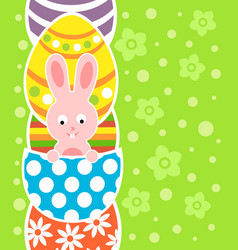Easter background card with rabbit and eggs vector