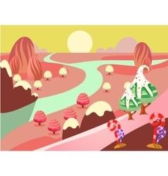 fantasy sweet food land vector image vector image