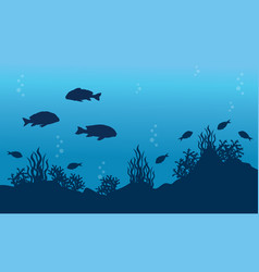 Fish underwater landscape vector