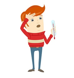 Frustrated hipster character holding a thermometer vector