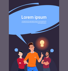 group of men thinking point finger to light bulb vector image vector image