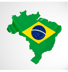 Hanging brazil flag in form of map federative vector