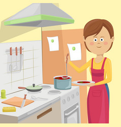 Housewife serving vegetable soup in kitchen vector