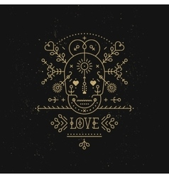 Love card with line romantic and abstract elements vector image vector image