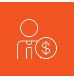 Man with dollar sign line icon vector image