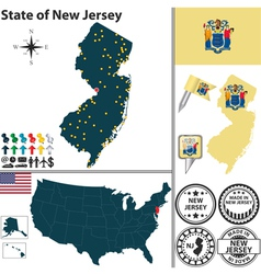 Map of New Jersey vector image