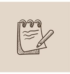 Notepad with pencil sketch icon vector image vector image