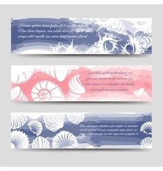 Ocean banners with sea shells vector image vector image