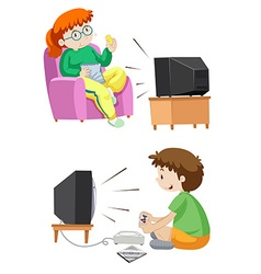 People watching tv and playing games vector