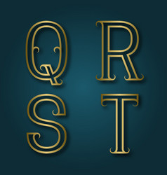 Q r s t shiny golden letters with shadow vector