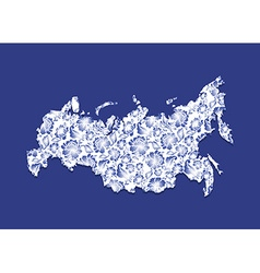Russia Map Gzhel painting Traditional Russian vector image vector image