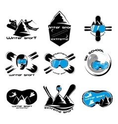 Set winter sport logo design template elements vector