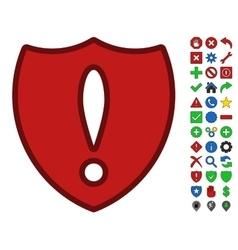 Shield problem symbol with toolbar icon set vector