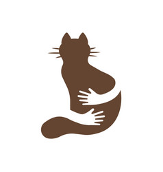silhouette icon of cat and hands hug human and vector image vector image