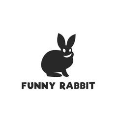Smiling funny rabbit silhouette logo design single vector image