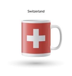 Switzerland flag souvenir mug on white background vector image vector image