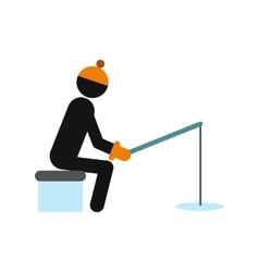 Winter fishing icon vector