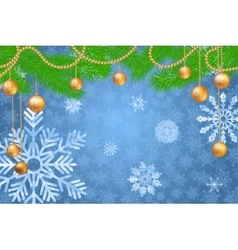 Winter holidays snowy golden background vector