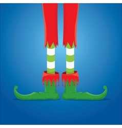 Christmas cartoon elfs legs on blue background vector