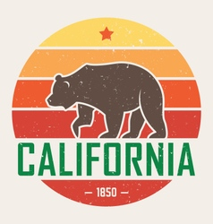 California t shirt with grizzly vector
