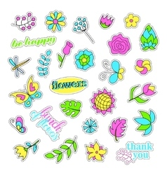 Pop art set with fashion patch badges flowers vector