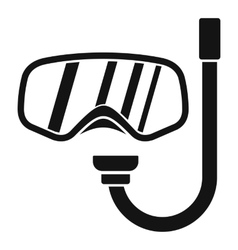 Goggles and tube for diving icon simple style vector