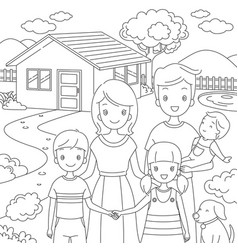 Family standing front their home in doodle style vector
