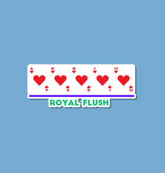 paper sticker on stylish background poker royal vector image