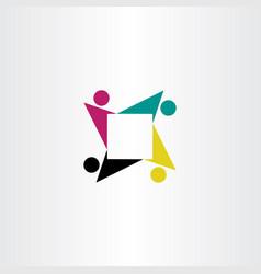 People teamwork square logo symbol icon vector