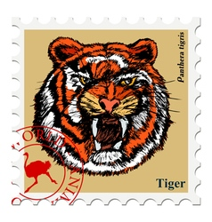 Stamp with animal vector