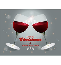 Christmas wine glasses background vector image