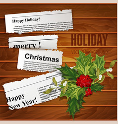Creative christmas background scraps of newspaper vector