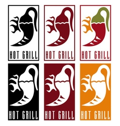 Chili pepper with fire labels set vector