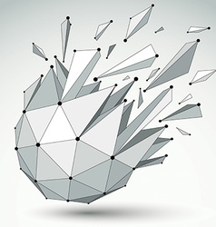 Dimensional wireframe object spherical demolished vector
