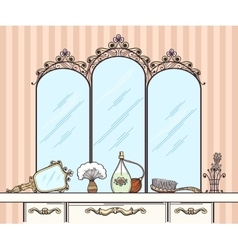 Retro dressing table vector
