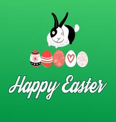 Easter greeting card with bunnies and eggs vector