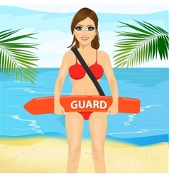 Female lifeguard holding float lifesaver equipment vector