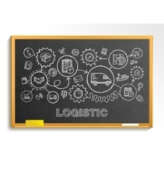 Logistic hand draw integrated icons set on school vector
