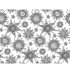 seamless pattern with hand drawn henna mehndi sun vector image