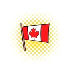 Flag of canada icon comics style vector