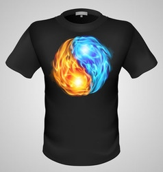 T shirts black fire print man 16 vector